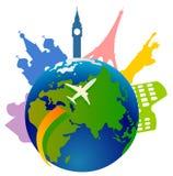 Globe avec des graphismes de borne limite Photographie stock libre de droits