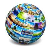 Globe avec des photos de voyage Image libre de droits