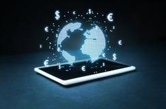 Globe avec des symboles du dollar et d'euro Concept des affaires globales Photographie stock