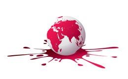 Globe avec l'éclaboussure de peinture illustration stock