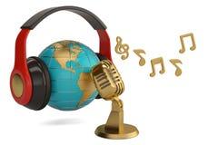 Globe avec l'illustration créative du concept 3d de microphone et de notes illustration libre de droits