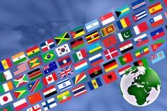 Globe avec la bannière de drapeau Images stock
