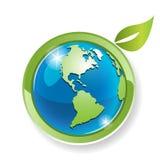 Globe avec la feuille illustration de vecteur