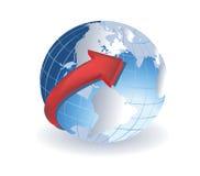 Globe avec la flèche rouge Images stock