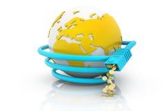 Globe avec le câble de réseau Photographie stock libre de droits