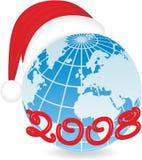 Globe avec le chapeau de Santa illustration de vecteur