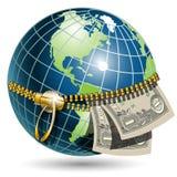 Globe avec le dollar Photos libres de droits