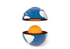 Globe avec le noyau évident Photographie stock