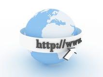 Globe avec le programme de lecture d'Internet. 3D Photo stock