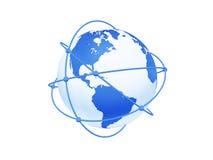 Globe avec le réseau sur le fond blanc. Photo libre de droits