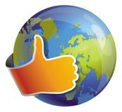 Globe avec le signe pareil Image libre de droits