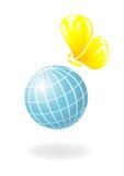 Globe avec le soleil-guindineau Photographie stock libre de droits