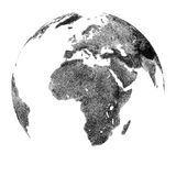 Globe avec le soulagement continental - vues de l'Afrique illustration de vecteur