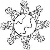 Globe avec les gosses environnants étreignant - B et W Image stock