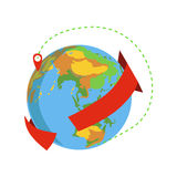 Globe avec Red Arrow Going Around et symbole de Destination Delivery Service Company de Marked de couverture mondiale Image libre de droits