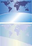 Globe background. Two abstract backgrounds in blue tones with the continent outlines Stock Photo