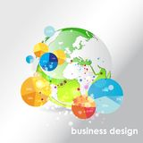 Globe  background with pie charts. Royalty Free Stock Images