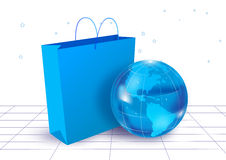 Globe and bag in white background Royalty Free Stock Photos