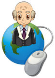 A globe with a bald old man and a computer mouse Stock Images