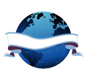 Banner with globe behind it. An illustration of an empty banner with a globe behind it Royalty Free Stock Images