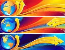 Globe banner. Vector illustration - a globe banner on an abstract rainbow background Royalty Free Stock Photography