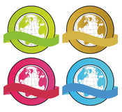 Globe banners. Colorful globes with banners in white background Royalty Free Stock Photos