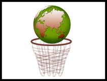 Globe with basket Royalty Free Stock Photos
