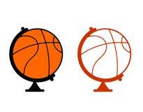 Globe basketball. World game. Sports accessory as globe. Orange Stock Photos
