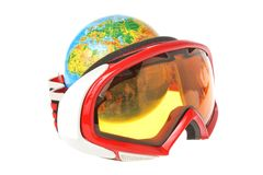 Globe behind mountain ski mask isolated on white Royalty Free Stock Photo