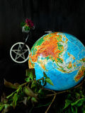 Globe and a bicycle. Travel concept. Environment concept Stock Image