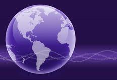 Globe binaire pourpré d'onde Photos libres de droits