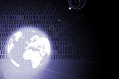 Globe and binary code. Illustration of the globe and binary code Royalty Free Stock Photos