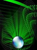 Globe and binary code. Abstract illustration of binary code flow around the world-globe Stock Photos