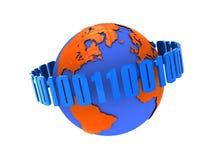 Globe with binary code Stock Photo