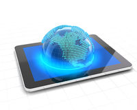 Globe with binary code emerging from a tablet. 3d render Royalty Free Stock Images