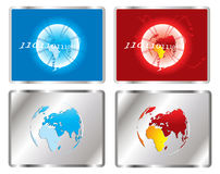 Globe and binary code icons Royalty Free Stock Images