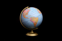 Globe on black. World globe on black with the Americas showing royalty free stock photos