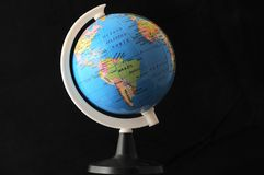 Globe on a black bacground. Showing south america Royalty Free Stock Images