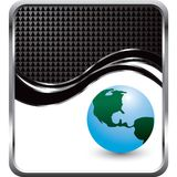 Globe with black checkered wave background Stock Photography