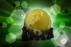 Globe with black chess Royalty Free Stock Image