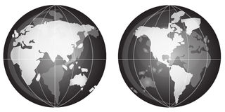 Globe black and white. Illustration of the blog in black and white in crystal transparent effect, featuring all of the continents Stock Images