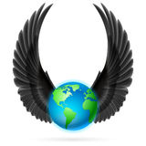 Globe with black wings on white Royalty Free Stock Image