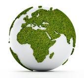 Globe blanc avec des continents couverts d'herbe Photos libres de droits