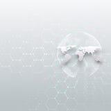 Globe blanc du monde, canalisations de raccordement et points, fond gris de couleur Modèle de chimie, structure hexagonale de mol illustration libre de droits