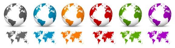 Globe blanc du vecteur 3D avec la carte du monde dans la même couleur La terre de planète illustration de vecteur
