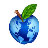 Globe blue apple earth planet isolated. Globe with blue apple representing clean earth planet isolated on white Royalty Free Stock Photography