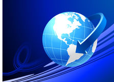 Globe on blue background with arrow Royalty Free Stock Image