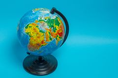 Globe on a blue background, view of Africa royalty free stock photos