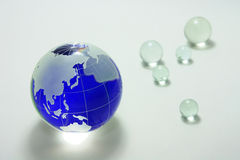 Globe of the blue glass Stock Photo