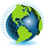 Globe and blue ray Royalty Free Stock Photography